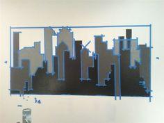 Gotham City Wall Mural with Batman nightlight