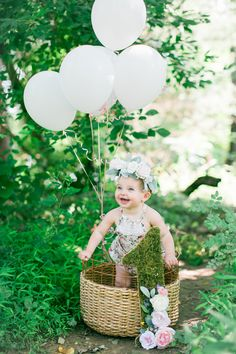 First Birthday with Balloons and Flower Crown | Photo By MB Photography, LLC