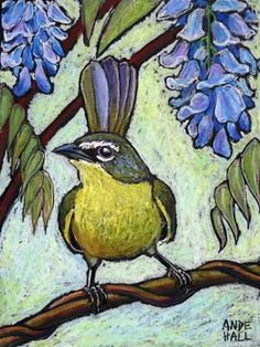 """Daily Paintworks - """"Yellow Breasted Chat"""" - Original Fine Art for Sale - © Ande Hall Oil Pastel Paintings, Pastel Art, Oil Pastels, Pastel Yellow, Bird Artwork, Wildlife Art, Fine Art Gallery, Art World, Beautiful Birds"""
