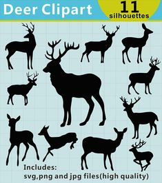 Deer Silhouettes Clipart Deer Clipart Deer Silhouettes Hirsch Silhouette, Silhouette Clip Art, Animal Silhouette, Silhouette Cameo Projects, Silhouette Design, Animal Costumes, Sketch Inspiration, You Draw, Vinyl Cutter