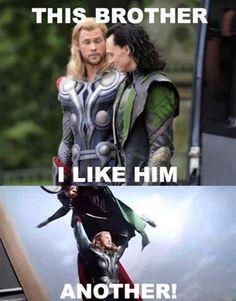 Imagem de thor, loki, and chris hemsworth Loki Thor, Loki Meme, Tom Hiddleston Loki, Thor Jokes, Memes Marvel, Hq Marvel, Dc Memes, Avengers Memes, Marvel Funny