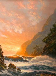 Golden Splendor, Hawaii 1997 by Roy Tabora, Original Painting, Oil on Canvas Fantasy Landscape, Landscape Photos, Beautiful Paintings, Beautiful Landscapes, Hawaiian Art, Midnight Sky, Scenery Pictures, Palmiers, Surf
