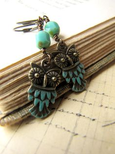 Woodland Owl, Antiqued Brass Earrings, Turquoise