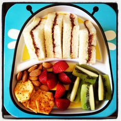 Nutella & Avocado Sandwich. Almonds, BBQ Shapes, Strawberries and Kiwi Fruit. Easy Toddler Food
