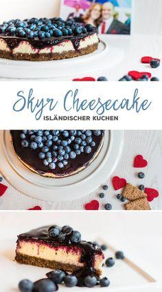 Bolo de queijo skyr islandês com cobertura de mirtilo - Torten & Kuchen - Food Cakes, Cheesecake Recipes, Dessert Recipes, Cookie Recipes, Blueberry Topping, Chocolate Cheesecake, Blueberry Cheesecake, Cheesecake Brownies, Blueberry Cake