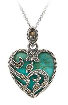 Silver Plated Blue Turquoise or Black Heart Necklace