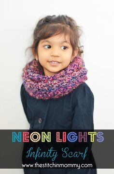 Neon Lights Infinity Scarf for Girls  - Pinning for pattern length.