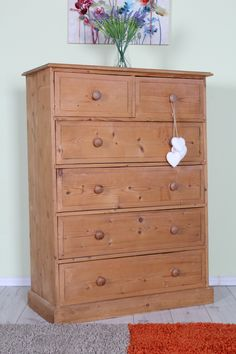 QUALITY SOLID PINE 6 DRAWER CHEST, WAXED FINISH ALL TONGUE GROOVE - CAN COURIER