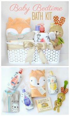 Baby Bedtime Bath Kit: a Soothing Gift Idea for a New MomThanks tinysunshine for this post.A soothing baby bedtime bath kit with everything needed to wind down at the end of the day. A cozy towel, pajamas, a bedtime story, favorite toy, and a# Baby Regalo Baby Shower, Baby Shower Gift Basket, Baby Baskets, Baby Shower Gifts, Mama Baby, Mom And Baby, Baby Bath Gift, Bath Gift Basket, Bath Kit