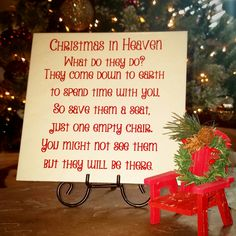 Christmas in heaven.  Christmas gifts.  Christmas chair quote.  Vinyl decal.  Christmas decor.  Find me on Facebook @mynewvinylfriend