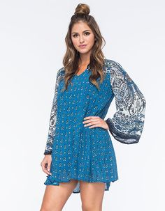 """Rhythm My Long Sleeve Tee dress. This dainty piece features a crochet yoke inset at the front chest and near the hem. Gathering at the waistline. Long raglan sleeves. 100% cotton. Machine wash. Imported.  <br /><br />Model is wearing a size small. Model measurements:<br />Height: 5'9.""""<br /> Chest: 34""""<br />Waist: 24""""<br />Hips: 34"""""""
