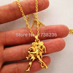 18K Gold Plated Wrestling Male Gigure Necklace Fitness Crossft Jewelry Wrestling Man Necklace ,wrestling man figure necklaces .