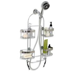 Expandable Shower Caddy - BedBathandBeyond.com     great idea for shower in tiny house...good reviews
