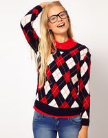 Buy Women's Navy / Red / Off-White Argyle Knit Jumper Size XXL/16 (Lacoste Live)