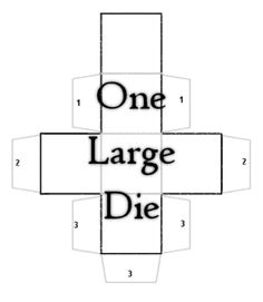One Large Printable Bland Die<br> Blank Game Board, Board Games, Game Boards, File Folder Games, Early Education, Learning Games, School Projects, Classroom Decor, Mathematics