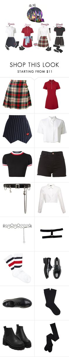 """""""《Exciting》4U - 축제 on Inkigayo"""" by real4u ❤ liked on Polyvore featuring Topshop, Chicwish, T By Alexander Wang, UNIF, Homme Boy, Gucci, Dr. Martens and Falke"""