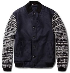Oliver Spencer ' Fair Isle Sleeved Wool Blend Bomber Jacket' via Mr Porter