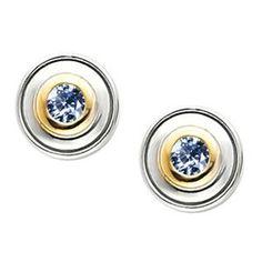 Timeless Two-Tone Bezel-Set 14K White/Yellow Gold Stud Earrings with Blue Diamond 1/4 carat each Brilliant cut