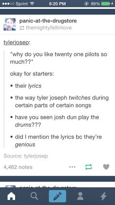 Twenty One Pilots. I love them for these reasons and more but THE LYRICS ARE SUCH GIFTS LIKE TYLER AND JOSH