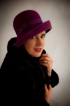 Mad Hattie purple cloche photographed by Sarah at Pictorial Photography, Berwick