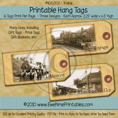 Printable Hang Tags -  Vintage Trains