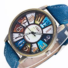 Colorful Graffiti Pattern Leather Band Analog Quartz Wrist Watch