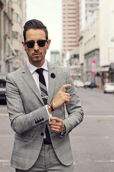 Grey Prince Of Wales Suit, white shirt, retro black tie, gold tie clip