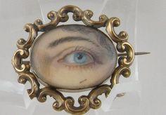 ANTIQUE VICTORIAN GOLD FRAME MINIATURE LOVERS WOMAN BLUE EYE BROOCH | eBay