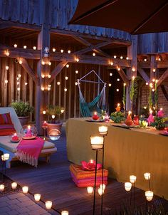 Home Exterior Decorating with Outdoor lighting Bar Deco, Palette Deco, Rooftop Party, Outdoor Lighting, Outdoor Decor, Lighting Ideas, Party Lights, Outdoor Spaces, Outdoor Gardens