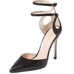 Sergio Rossi Women's Pointed-Toe Ankle Wrap Pump - Black, Size 40 ($340) ❤ liked on Polyvore featuring shoes, pumps, heels, black, black leather pumps, black pointed toe pumps, pointy-toe pumps, high heel shoes and black pumps