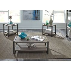 Tanners Creek Greystone 3 Piece Occasional Table Set from Liberty, Free Delivery Furniture Direct, New Furniture, Living Room Furniture, Living Room Decor, White Furniture, Slate Coffee Table, Coffee Tables For Sale, Living Room Table Sets, Hillsdale Furniture