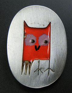 RARE!! BETTY COOKE VINTAGE STERLING SILVER MULTICOLORED ENAMEL OWL PENDANT Owl Pendant, Vintage Cufflinks, Enamel, Sterling Silver, American, Artist, Ebay, Jewelry, Vitreous Enamel