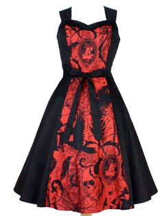 "Women's ""Steampunk Inspired"" Dress by Hemet (Black/Red)"