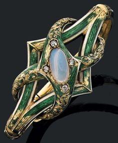 An antique gold, enamel, moonstone and diamond bracelet, 19th century. #antique #bracelet