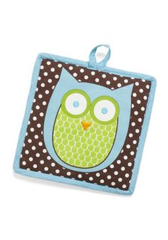 Cooking Owl Day Pot Holder, #ModCloth $8.99 Perched on a square pot holder and backed by a white-on-brown polka dot print, an adorable blue-and-green owl is at the ready for any recipe. Looking regal on the quilted reverse side, a flock of additional assistants are waiting in rows for the cue to swoop in and protect your paws. Finished with sky blue trim and a tiny hanging loop, this handy accessory is essential to 'beak' the clock in safety and style.
