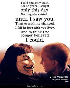 Not really sure who I love more, V himself or Hugo Weaving? Both is good, I guess. (V for Vendetta)
