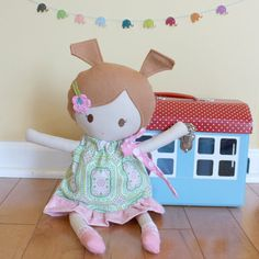 Cloth Rag Doll baby toy  fabric soft dress diaper cute by PETUNIAS, $49.00