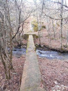 Un largo tablón como puente sobre el Río Riaza, cerca de Riofrío.