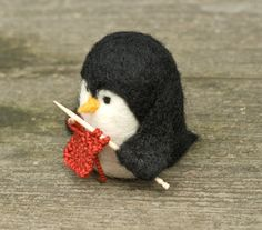 Needle Felted Penguin Knitting by scratchcraft on Etsy