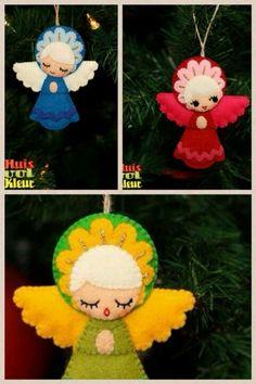 Christmas-Craft idea-Felt Angel Ornaments … More Felt Christmas Decorations, Felt Christmas Ornaments, Retro Christmas, Christmas Angels, Handmade Christmas, Christmas Holidays, Angel Crafts, Felt Crafts, Holiday Crafts