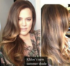 Khloe K's warm chocolate haircolor and rose gold bayalage highlights. great for summer brunettes! LOVE