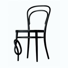 thonet bentwood chair with knot in leg, black stained beechwood.