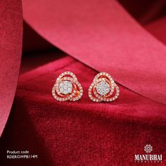 Diamond Earrings by the brand Manubhai Jewels South Indian Jewellery, Indian Jewellery Design, Indian Jewelry, Jewelry Design, Diamond Jewellery, Diamond Earrings, Jewelry Collection, Chokers, Bangles
