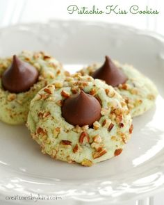 Pudding makes these Pistachio Kiss Cookies so soft and delicious! They are perfect for Christmas!