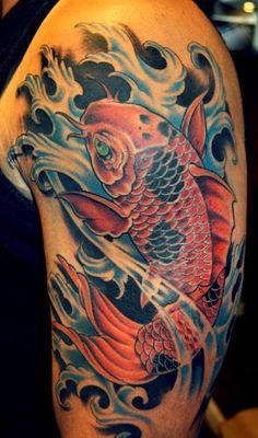 done by Jesse Lopez @ Electric Land Tattoo in Bridgeview Il. Tattoo Pez, Koi Tattoo Sleeve, Carp Tattoo, Japanese Sleeve Tattoos, Tattoo Sleeve Designs, Dragon Tattoo Art, Tatoo Art, Body Art Tattoos, Geisha Tattoo Design