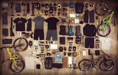 "alps-mountain-biking-gear | ""Looks like the Batcave for a mountain biker. All the arsenal are on display."" - Steve"