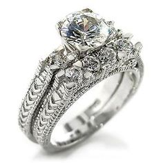 A bit of a vintage elegant look.... 2 CT. Round Cut R/P Double Band W/Embellished Crystals Wedding/Engagement/Cocktail Ring Sz 5-10