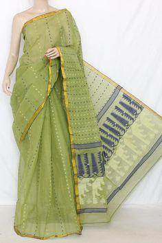 Menhdi Green Handwoven Thousand Booti Bengal Tant Cotton Saree (Without Blouse) 13997