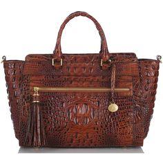 Brahmin Anna Satchel ($345) ❤ liked on Polyvore featuring bags, handbags, purses, pecan, zipper purse, purse satchel, top zip satchel, handbags purses and ipad purse