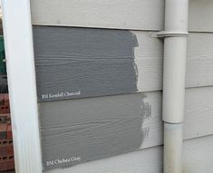 Once I painted these two samples on the house next to those from the first round, I definitely liked the Kendall Charcoal better than SW Peppercorn (which now appeared more blue-ish and too dark). Kendall was like a happy medium between the Peppercorn and Gauntlet Gray.